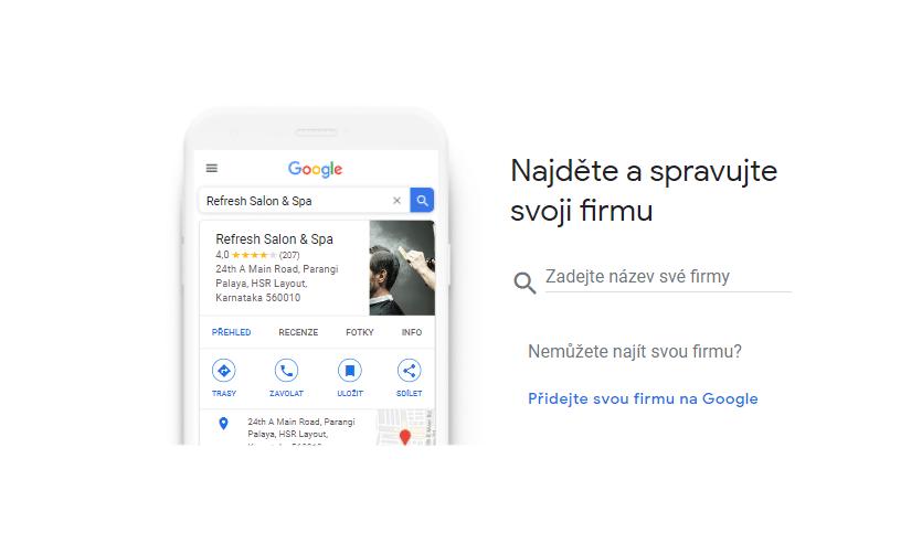 Formulář pro nárokování zápisu Google Moje Firma