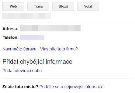 Nárokování vlastnictví Google Moje Firma